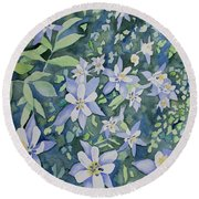 Watercolor - Blue Columbine Wildflowers Round Beach Towel