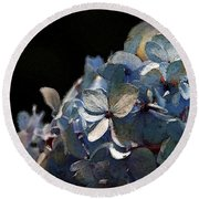 Watercolor Blue Hydrangea Blossoms 1203 W_2 Round Beach Towel