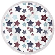 Watercolor Blue Red Stars Round Beach Towel