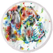 Watercolor Boxer Round Beach Towel