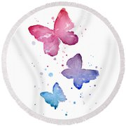 Watercolor Butterflies Round Beach Towel