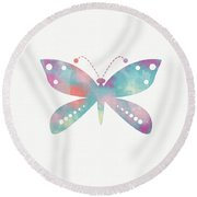 Watercolor Butterfly 3-art By Linda Woods Round Beach Towel