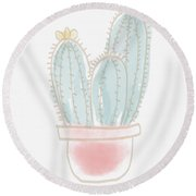 Watercolor Cactus- Art By Linda Woods Round Beach Towel