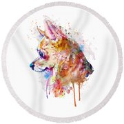 Watercolor Chihuahua  Round Beach Towel