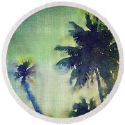 Watercolor Coconut Tree Tropical Vintage Palm  Round Beach Towel