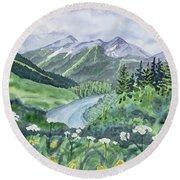 Watercolor - Colorado Summer Landscape Round Beach Towel