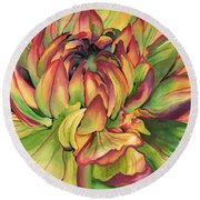 Round Beach Towel featuring the painting Watercolor Dahlia by Angela Armano