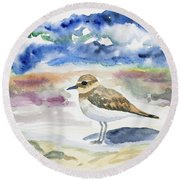 Watercolor - Double-banded Plover On The Beach Round Beach Towel