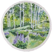 Watercolor - Early Summer Aspen And Lupine Round Beach Towel