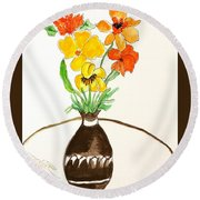 Watercolor Fall Bouquet Round Beach Towel
