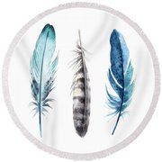 Watercolor Feathers Round Beach Towel