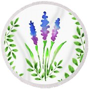 Blue Watercolor Flowers And Leaves I Round Beach Towel