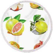 Watercolor Food Illustration Fruits Round Beach Towel