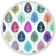 Watercolor Forest Pattern  Round Beach Towel by Amir Faysal