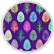 Watercolor Forest Pattern II Round Beach Towel