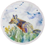 Watercolor - Fox On The Lookout Round Beach Towel