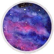 Watercolor Galaxy Pink Nebula Round Beach Towel
