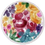 Watercolor Garden Flowers- Art By Linda Woods Round Beach Towel
