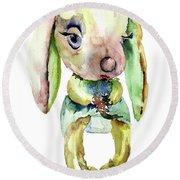 Watercolor Illustration Of Rabbit Round Beach Towel