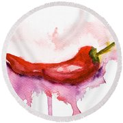 Watercolor Illustration Of Red Hot Chili Pepper  Round Beach Towel