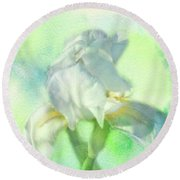 Watercolor Iris Round Beach Towel