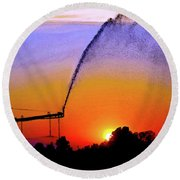 Watercolor Irrigation Sunset 3243 W_2 Round Beach Towel