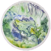 Watercolor - Leaves And Textures Of Nature Round Beach Towel