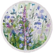 Watercolor - Lupine Wildflowers Round Beach Towel