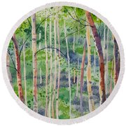 Watercolor - Magical Aspen Forest After A Spring Rain Round Beach Towel