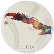 Watercolor Map Of Cuba Round Beach Towel