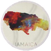 Watercolor Map Of Jamaica Round Beach Towel