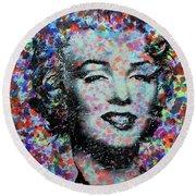 Watercolor Marilyn Round Beach Towel