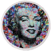 Watercolor Marilyn Round Beach Towel