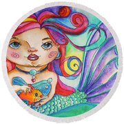 Watercolor Mermaidia Mermaid Painting Round Beach Towel by Shelley Overton