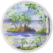 Watercolor - Minnesota North Shore Landscape Round Beach Towel