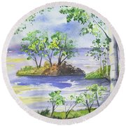 Watercolor - Minnesota North Shore Landscape Round Beach Towel