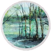 Watercolor Morning Round Beach Towel