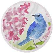 Watercolor - Mountain Bluebird Round Beach Towel
