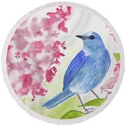 Watercolor - Mountain Bluebird Round Beach Towel
