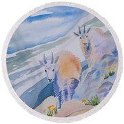 Watercolor - Mountain Goats On Quandary Round Beach Towel