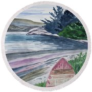 Watercolor - New Zealand Harbor Round Beach Towel