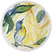 Watercolor - Northern Parula In Song Round Beach Towel