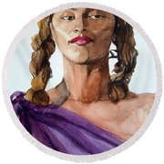 Portrait In Watercolor Of A Brooklyn Queen Round Beach Towel