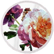 Watercolor Of Two Roses In Pink And Violet On One Stem That  I Dedicate To Jacques Brel Round Beach Towel