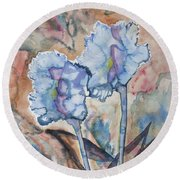 Watercolor - Orchid Impression Round Beach Towel
