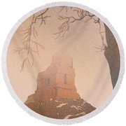 Round Beach Towel featuring the painting Watercolor Painting Of Mayan Temple- Tikal, Guatemala by Ryan Fox