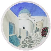 Watercolor - Paros Church And Street Scene Round Beach Towel
