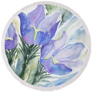 Watercolor - Pasque Flowers Round Beach Towel