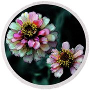 Watercolor Pink Zinnias And Smoke 2227 W_2 Round Beach Towel