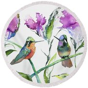 Watercolor - Purple-throated Mountain Gems And Flowers Round Beach Towel